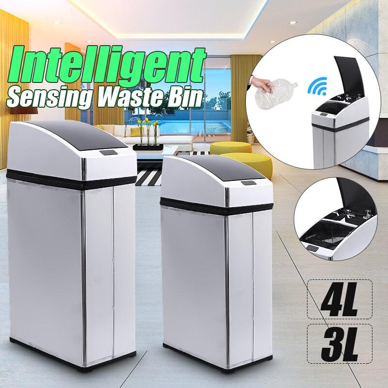 3L 4L Intelligente Sensore di Spazzatura Può Square Automatico Ad Induzione Senza Fili In Acciaio Inox Potenza Della Batteria di Alimentazione Pattumiera Cucina di Casa