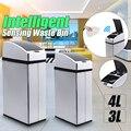 Cubo de basura con Sensor inteligente 3L 4L cuadrado automático de inducción inalámbrica batería de acero inoxidable