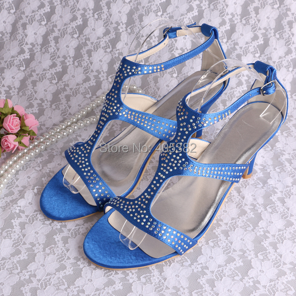 (20 Colors) Hot Selling Dark Blue Crystal Evening Party Sandals for Women Med Heel Size 10