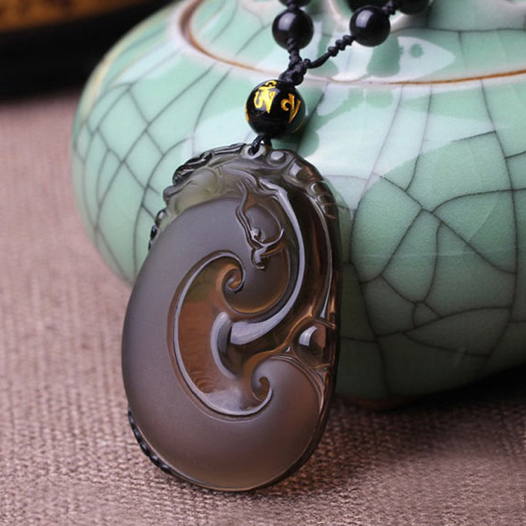 Wonderful Natural Ice Obsidian Hand Carved Ruyi Lucky Amulet Blessing Pendants Necklace Fine Fashion Jewelry