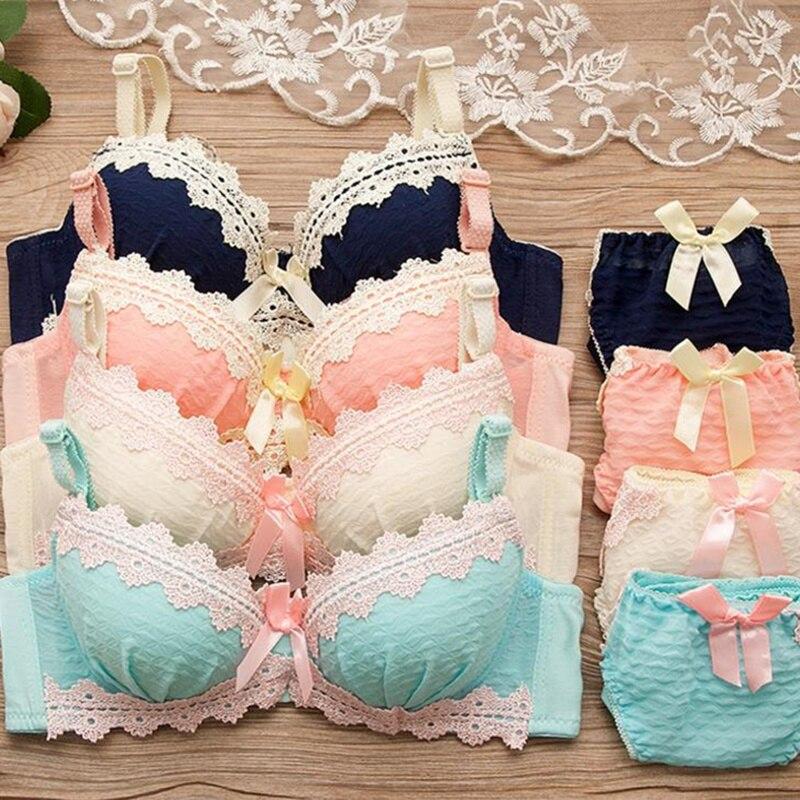 Japanese cute Retro grid Adjustable Bras set for Girls Teenage Underwear Set Cotton Underwears lace Bra Comfortable Girl