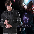 Resident Evil 6 Leon Leather Motorcycle Coat Jacket Winter Outerwear Clothes Free Shipping
