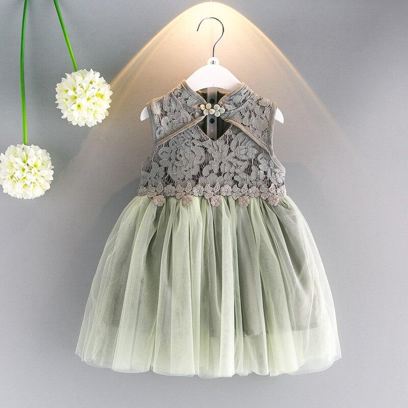 Выдалбливают цветочные платья для девочек летние детские платья Симпатичная одежда для маленьких девочек Cheongsam Стиль Кружева Детские плат...