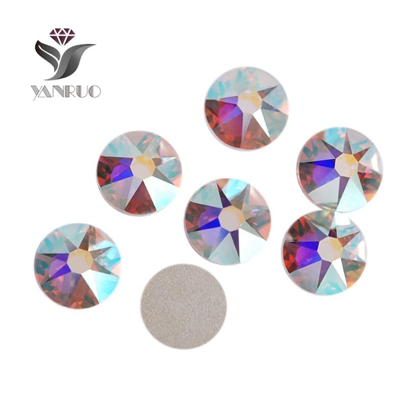 YANRUO 1440pcs/Lot, Top Quality New Facted (8 big + 8 small) ss16 (3.8-4.0mm) Crystal AB Nail Art Glue On Non Hotfix Rhinestones 1440pcs lot ss16 3 8 4 0mm high quality dmc tanzanite iron on rhinestones hot fix rhinestones