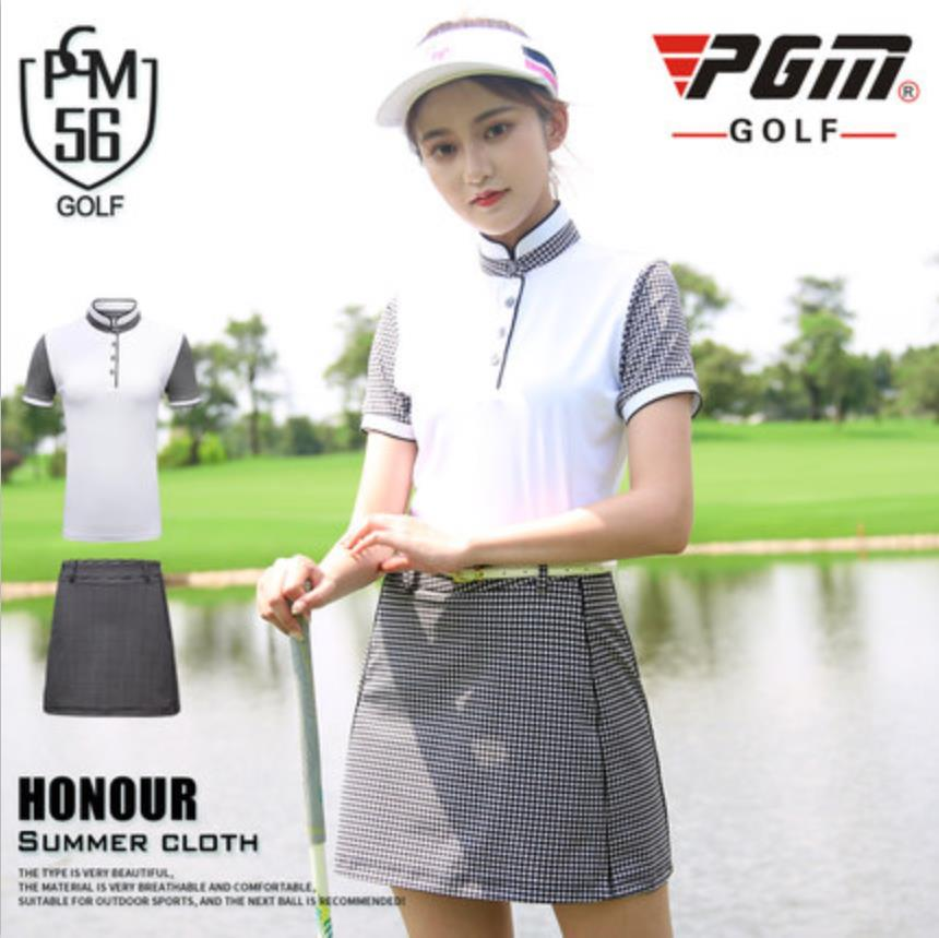 2018 PGM Golf Apparel Women's chequer suit Ladies tennis sport skirts Breathable golf sports T - shirt size XS-XL 2017 pgm golf clothing ladies korean version of the golf stitching color short sleeve t shirt breathable stretch free shipping