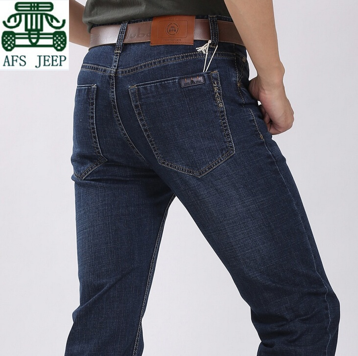 AFS JEEP Classical Design Double Pockets Original Brand Cotton casual Cargo Jeans Blue Color Men s