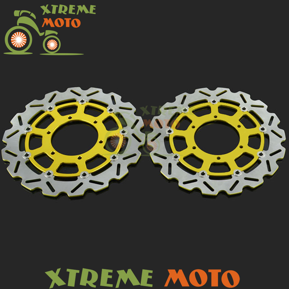 2Pcs Gold Motorcycle Front Floating Brake Disc Rotor For GSXR GSXR600 GSXR750 2008-2014 GSXR1000 2009-2014 10 11 12 13 14