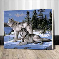 Assembly Frame Photos DIY Oil Painting By Numbers Home Decor Wall Art Wolf Painting 40x50 Cm