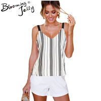 Blooming Jelly 2018 Vertical Striped Blouses Summer Sleeveless Women Spaghetti Strap Tops Sexy Double V-Neck Female Beach Shirt
