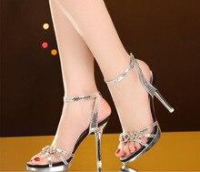 2017 nuevo verano de la mujer zapatos de diamantes de agua sandalias de tacón alto de oro sexy zapatos de boda para mujer sandalias tamaño 35-40