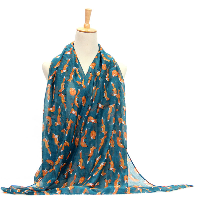 Women Vintage Fox Animal Printed Long Soft Cotton Voile Scarf Shawl Wrap Scarves