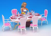 original for dining barbie tableware restaurant dinner table chair set dream 1/6 bjd doll house furniture accessories toy gift