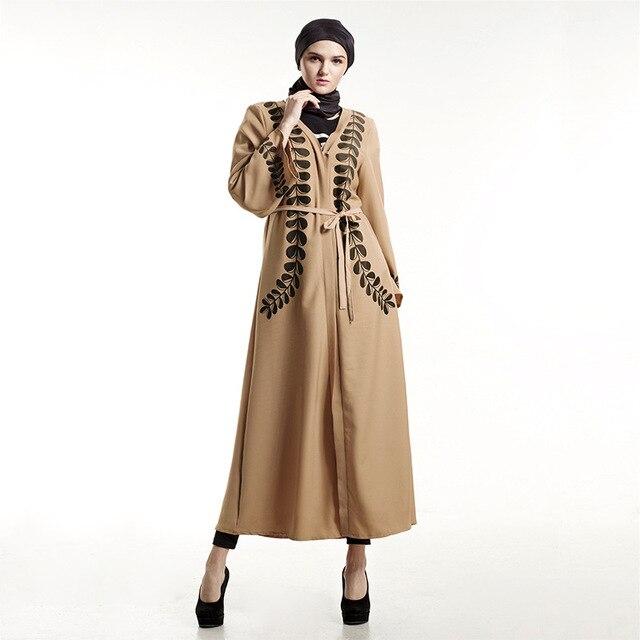 967c05245 Moda Islam Muçulmano Árabe Turquia Mulheres Vestido Solto Vestido Estampado  Elegante Vestidos Belt Roupas Femininas