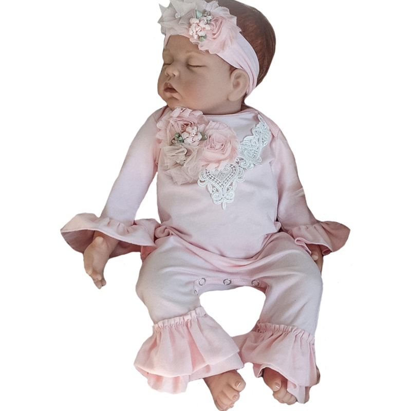 Baby Girl   Romper   Solid Color Lace Collar Bell Sleeve Newborn Clothes Spring Fashion Infant Girls Jumpsuit+Headband 2pcs Outfits