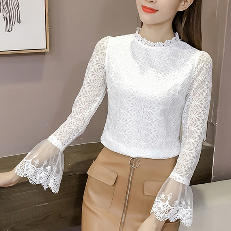 2019 fashion White Lace   Blouse     Shirt   Women Fashion Tops round neck Flare Sleeve Female   Blouses   autumn Hollow Out Tops 804H3