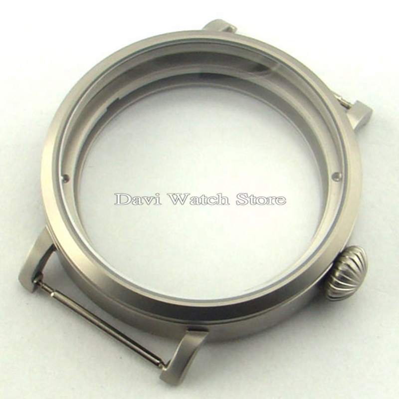 46mm Parnis silver watch case Sandblast 316L Big Case Fit eta 6497/6498 Seagull ST36 Watches