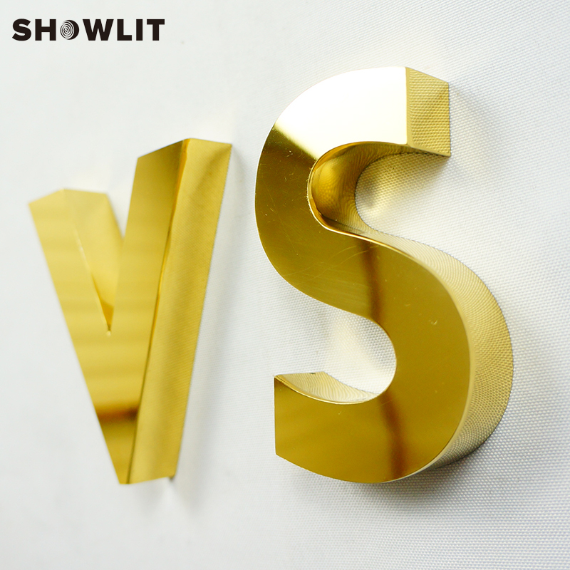 Titanized Golden Color Individual 3D Channel Letters Custom Made