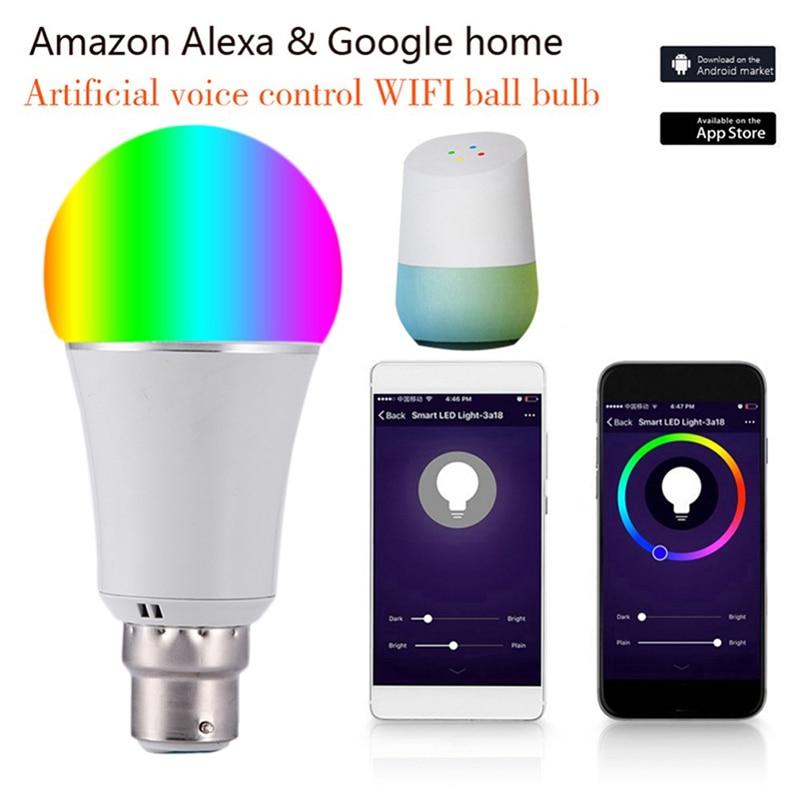 Купить с кэшбэком 7W Wireless WiFi Smart LED Bulb B22 RGB Bulb Support Alexa Google Home Voice Control 9W LED Lamp