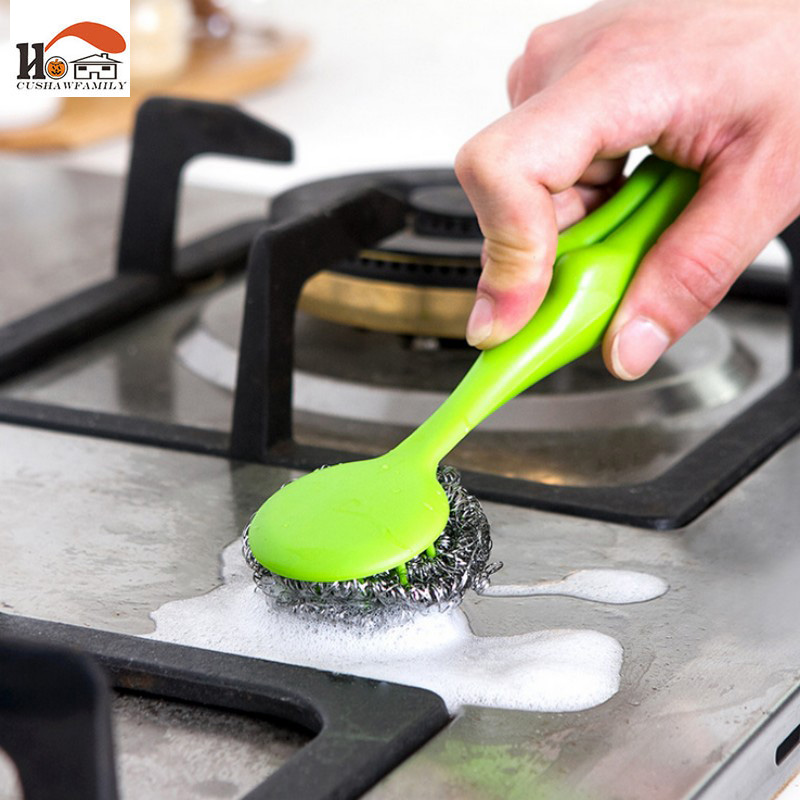 Free shipping High Qualit Fashion Stainless steel Cleaning Brushes Steel Ball pot Brush Household Cleaning Tools Kitchen Tools