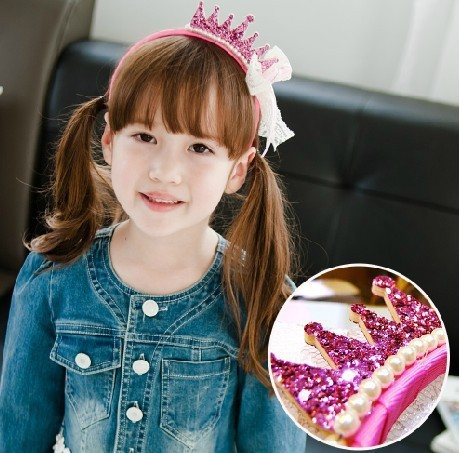 240pcs/lot Birthday Glitter Crown With Lace Bow And Pearl Plastic Headband