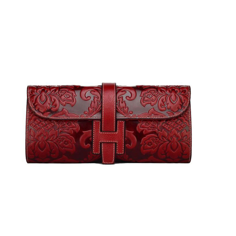 2016 New women genuine leather bag fashion chinese style quality clutch bags women shoulder chains cowhide embossing small  bag