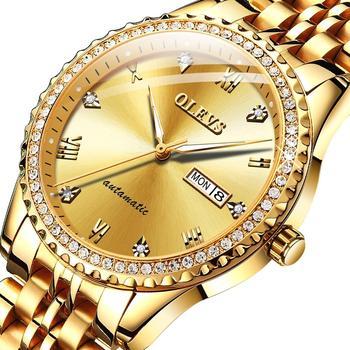 OLEVS Business Men's Automatic Mechanical Watch Waterproof Men's Watch Inlaid Rhinestone Luminous Pointer Automatic Date S-G6604