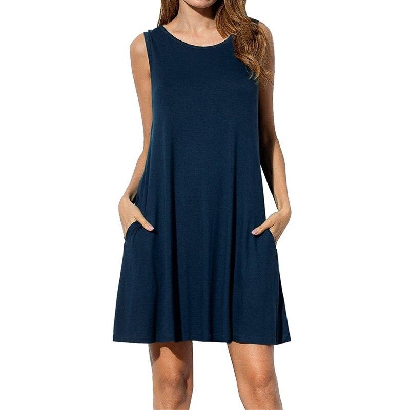 dressfan Women Sleeveless Pockets Casual Swing T-shirt Dresses