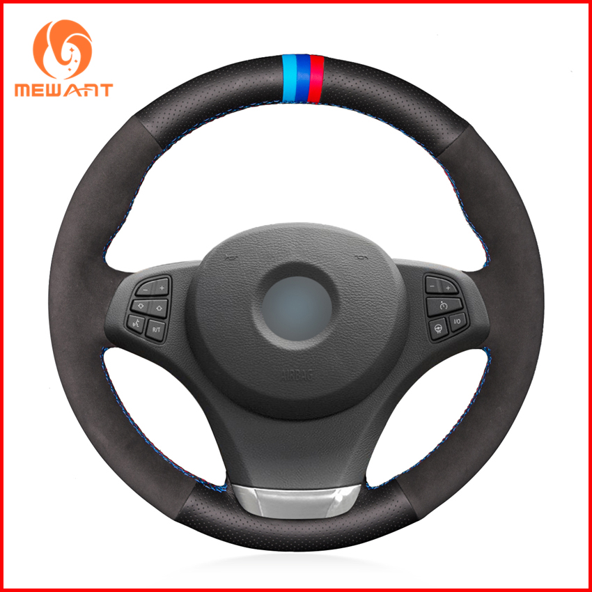 MEWANT Black Genuine Leather Black Suede Car Steering Wheel Cover for BMW E83 X3 2003-2010 E53 X5 2004-2006 Accessories Parts