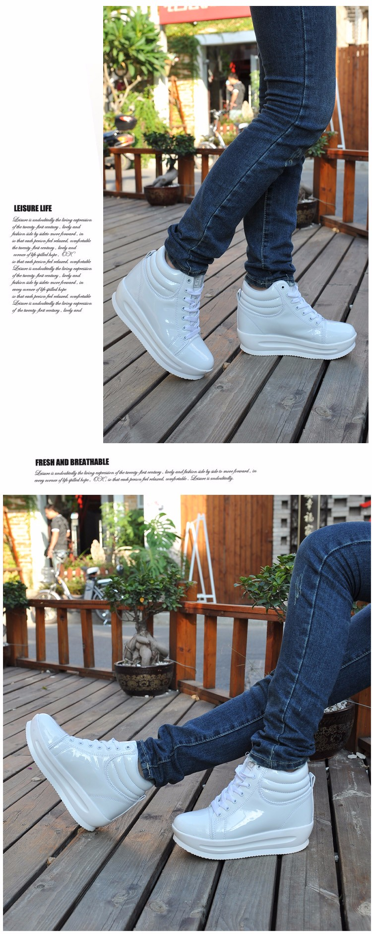 KUYUPP 2016 Fashion Hide Heel Women Casual Shoes Breathable Flat Platform Casual Women Shoes Patent Leather High Top Shoes YD105 (10)