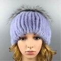 2016 Зимние Beanies Меховая Шапка Норки Женщин Меха для Женщин Hat Высокое Качество Новинка Норки Мяч Solid Cap