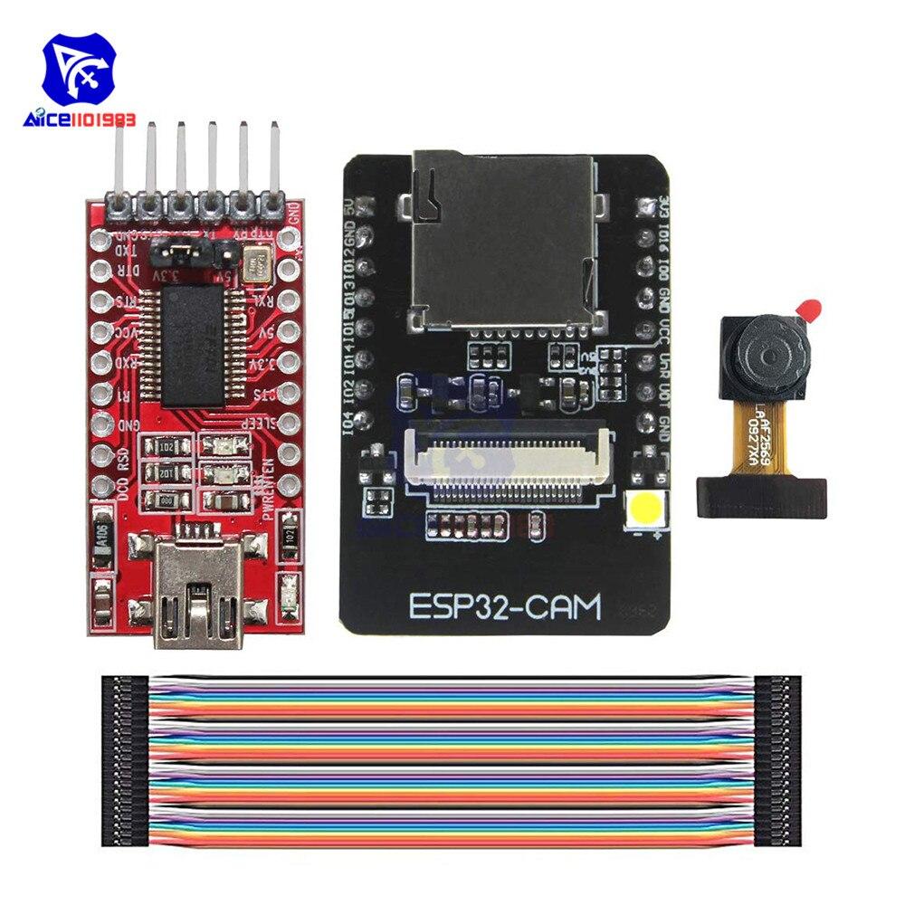 ESP32-CAM ESP32-S OV2640 2MP Módulo Da Câmera Sem Fio WI-FI Placa Bluetooth TF Slot Para Cartão Sem Fio Módulo de Expansão para Arduino