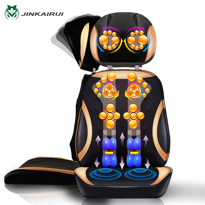JinKaiRui Electric Neck Back Body Household Massager Vibrate Cervical Malaxation Device Infrared heating Massage Pillow Chair electric relaxing massage pillow body massager neck back cervical vertebra massagers for good health mat device heater equipment