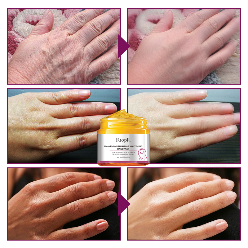 Mango Moisturizing Hand Wax Whitening Skin Hand Mask Repair Exfoliating Calluses Film Anti-Aging Hand Skin Cream 50g 4