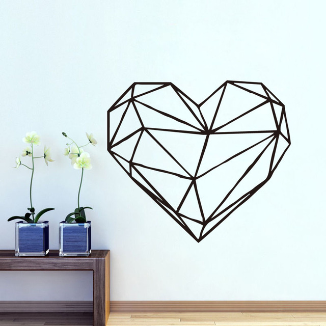 Geometrische Herz Wand Aufkleber Ausgangsdekor Wohnzimmer Vinyl  Kunst Abziehbilder Removable Kreative Wandaufkleber