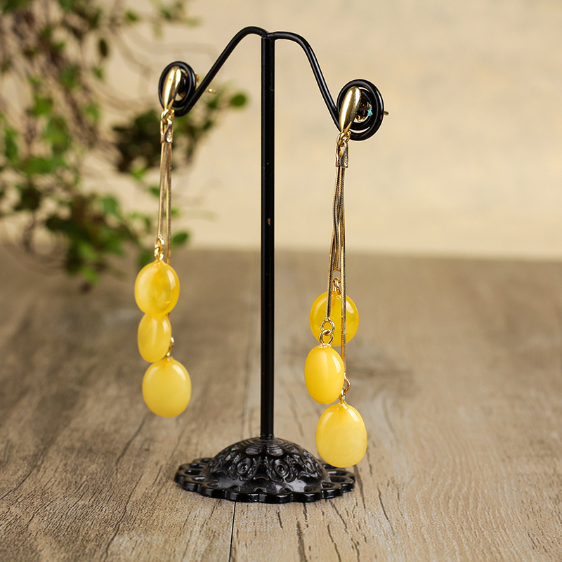 JIUDUO New butter yellow honey wax female 925 sterling silver allergy amber earrings fashion wild mailJIUDUO New butter yellow honey wax female 925 sterling silver allergy amber earrings fashion wild mail