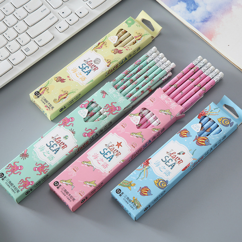 12pcs/lot Kawaii Sea Language Triangle Beech HB Rubber Head Pencils For Kids Writing School Supplies Stationery
