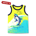 Summer 2016 Children's Vest Colete Baby Boys Sleeveless Cartoon Shark Beach Surfing Clothes for Boys Kids Tank Tops