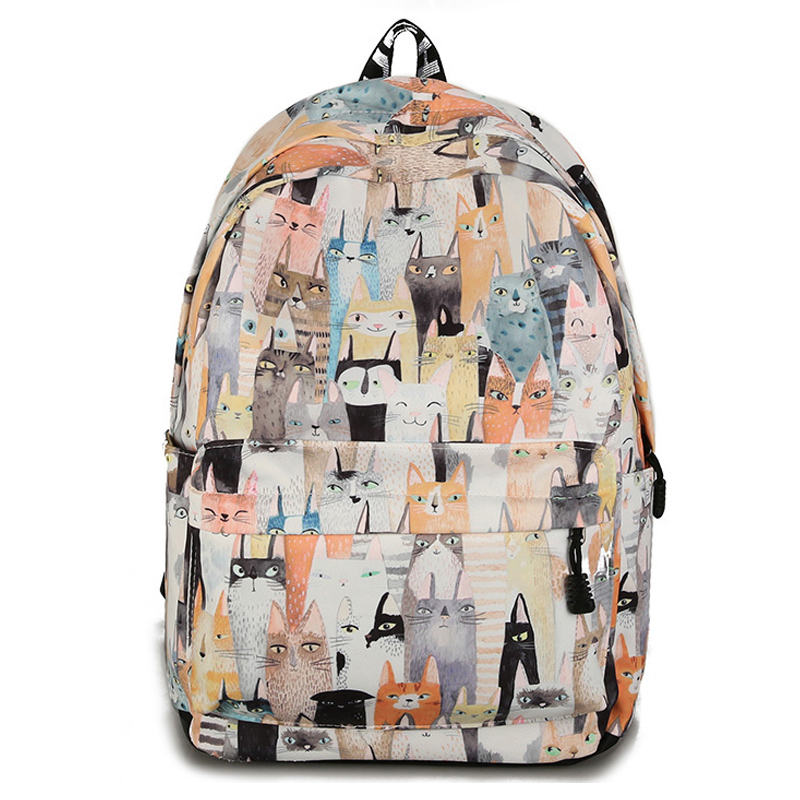 Fashion Water Resistant Nylon Women Backpack Cats Printing Female School Rucksack For Teenage Girls Daily College Laptop Bagpack