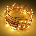 2x 16ft 50 LEDs Warm white Estrelado Luzes Cordas de Fadas de Cobre fio Luzes LED 3 AA Alimentado Por Bateria Ultra Fino Micro Tira luz