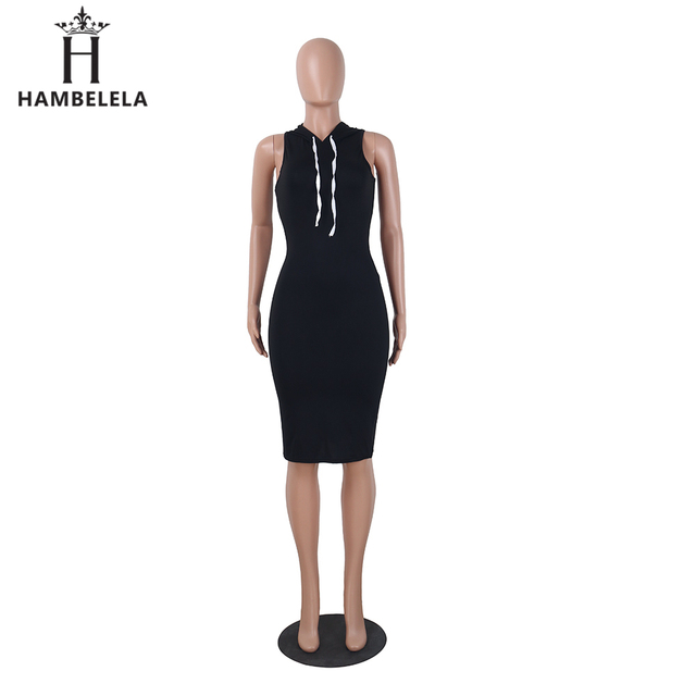 f3db237f8d648d HAMBELELA Mode Vrouwen Zomer Jurk Herfst Hoodies Mouwloze V-hals Effen  Kleur Zwart Jurk Casual