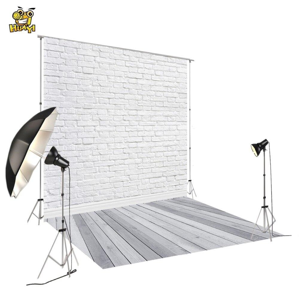 Foto fondo gris de piso de madera Estudio de vinilo blanco ladrillos fotografía telón de fondo para mascotas pasteles fotos D-9713