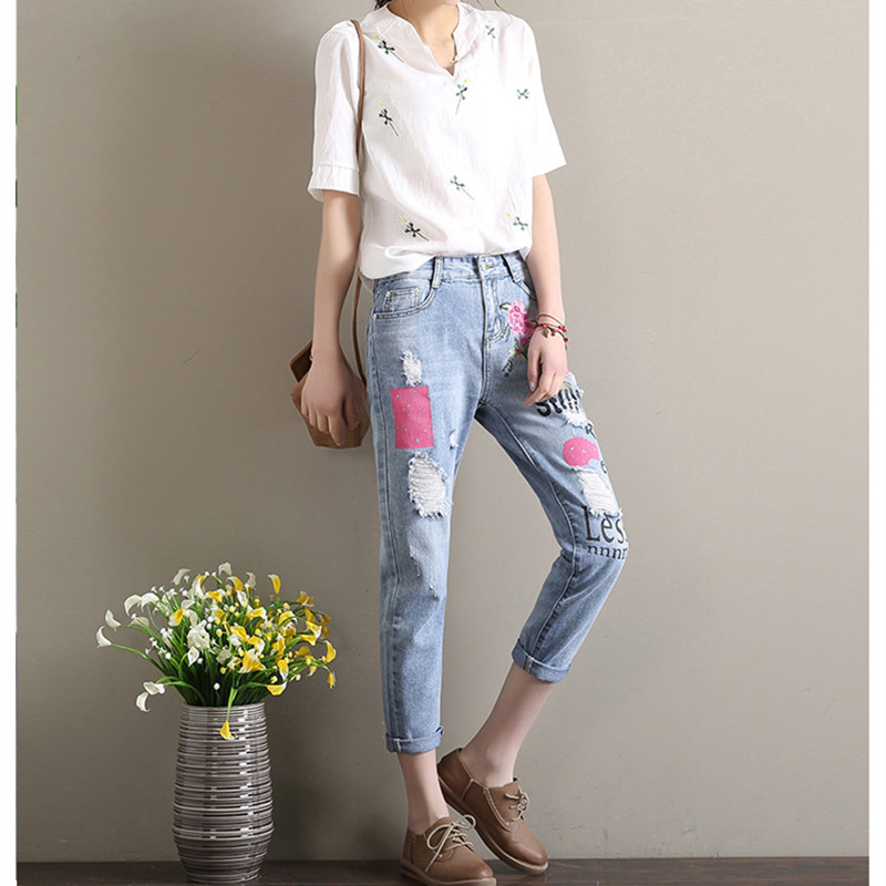 Embroidered 2017 Selling New Jeans Woman Brand Spring Straight Blue Jeans Women Flower Plus Size Denim Female Casual Pants flower embroidery jeans female blue casual pants capris 2017 spring summer pockets straight jeans women bottom a46
