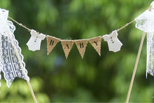 Baby shower cake topper, cake banner, with white lace bodysuits and ribbon trim,Party Decoration,Burlap Banner
