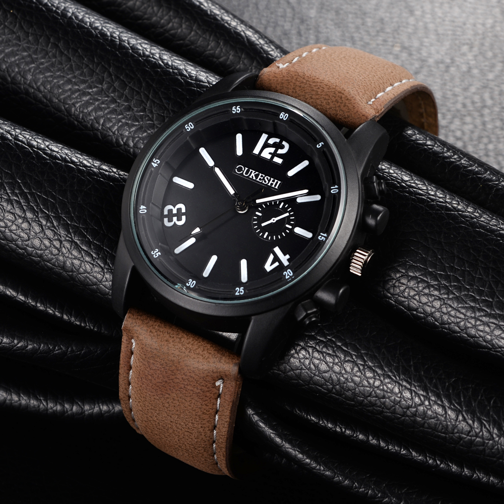 OUKESHI Sport Men Watch Fashion Casual Leather Strap Quartz Male Wristwatch Waterproof Hot Sale Relojes Analog Mens Clock 2017