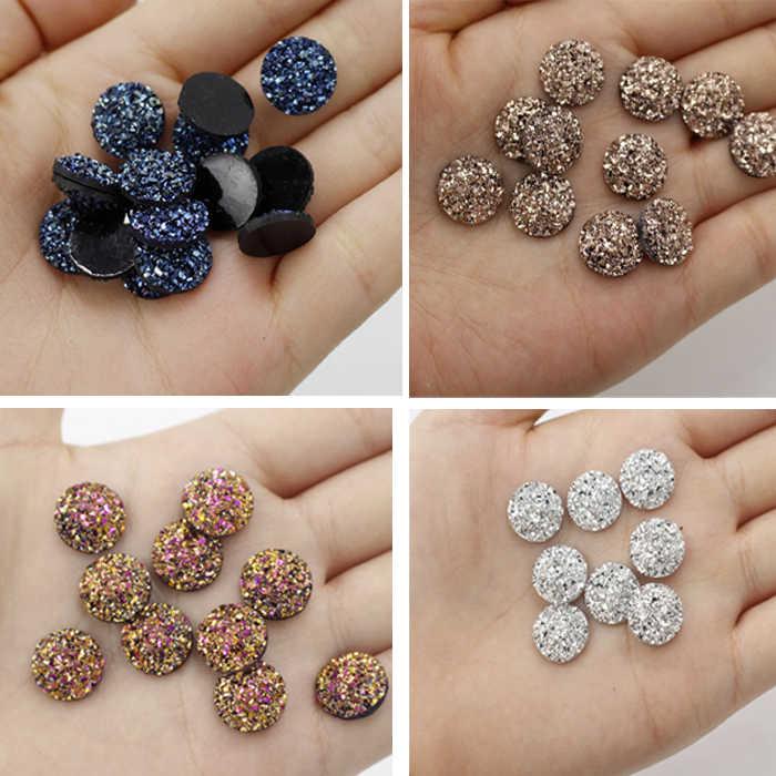 Artesanías 12mm de superficie mineral de resina redonda plana DIY artesanía botones Wh