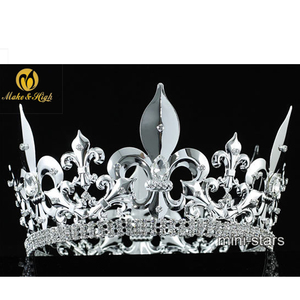 For Men Imperial Medieval Tiara Fleur De Lis Crystal Silver Plated King Crown Pageant Party Hair Jewelry Accessories