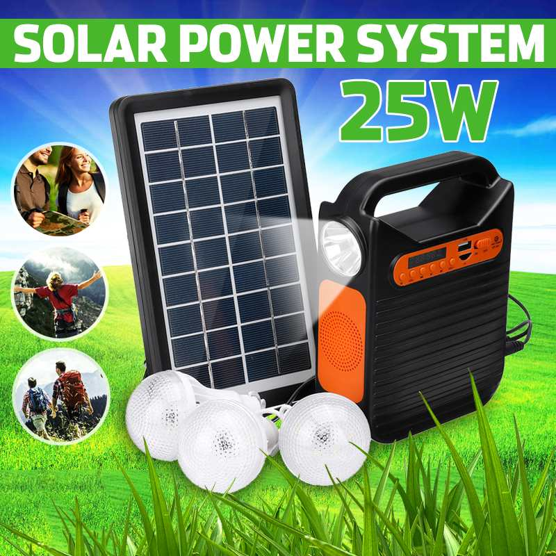 bluetooth Solar Power Panel Generator Kit USB Home Charger System + MP3 Radio 3 LED Bulbs <font><b>Light</b></font> for <font><b>Emergency</b></font> Charging Lighting image