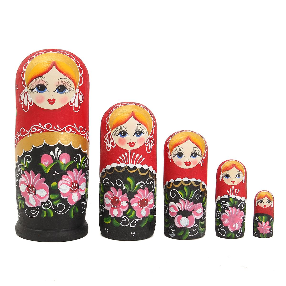 New 5pcs/Set Wooden Dolls Martyoshka Nesting Russian Bbushka Toys Gift Flower