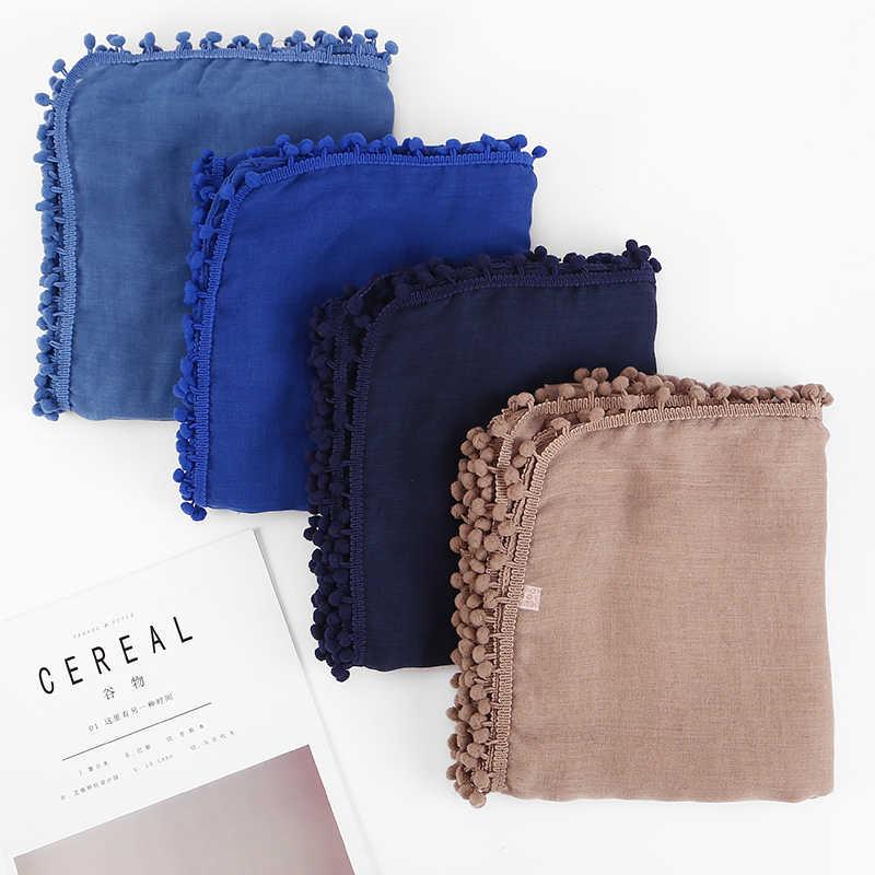 1 pz Sciarpa Del Cotone Delle Donne Pom Palle Sciarpa di Inverno palla pianura scialli hijab musulmano wrap fascia 13 sciarpe di colore/ sciarpa 180*80 cm