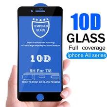 10d vidro de proteção para iphone 7 6 x protetor de tela iphone x xr xs max vidro temperado no iphone 7 8 6s mais xs vidro